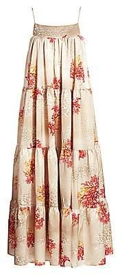 Adriana Iglesias Women's Sky Tiered Strtech-Silk Babydoll Swing Dress
