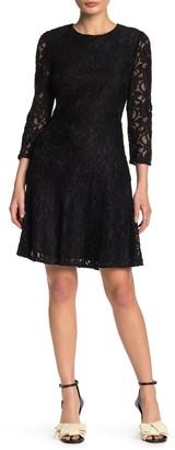 Sam Edelman Lace 3/4 Sleeve Fit & Flare Dress