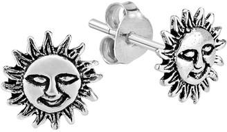 Aeravida Handmade Happy Sun Energy .925 Sterling Silver Stud Earrings