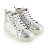 Moschino MoschinoGirls Silver Sequin High Top Trainers
