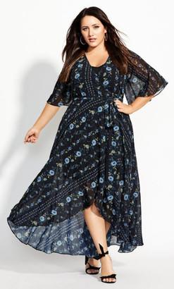 City Chic Shadow Stripe Maxi Dress - black