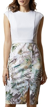 Ted Baker Hanalee Woodland Floral Print Cap Sleeve Dress
