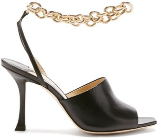 Jimmy Choo Sae 90 Chain-strap Leather Sandals - Black Gold
