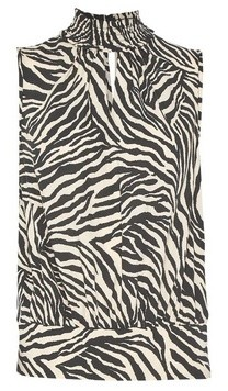 Dorothy Perkins Womens Black Animal Print Sleeveless Keyhole Top, Black