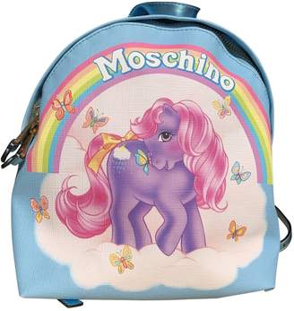 Moschino Blue Leather Backpacks