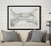 Pottery Barn Gray Brushstrokes Abstract Framed Print