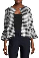 August Silk Gingham Open-Front Jacket
