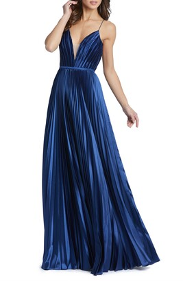 Mac Duggal Ieena for MacDuggal Plunge Neck Pleated Ballgown