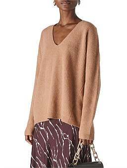 Whistles V Neck Rib Wool Sweater