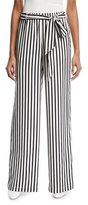 Frame Wide-Leg Striped Silk Easy Pants