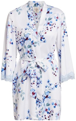 In Bloom Floral Satin Wrap Robe