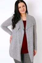 Yours Clothing Grey Belted Knit Cardigan With Ribbed Collar