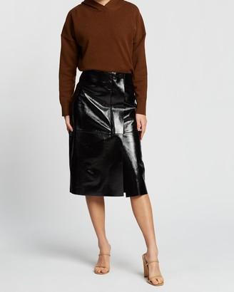 SABA Alexa Leather Midi Skirt