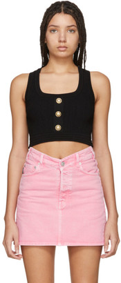 Balmain Black Knit Crop Tank Top