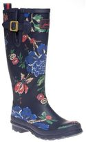 Joules New Womens Blue Welly Print Rubber Boots Floral Pull On