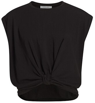 Frame Knotted Roll-Sleeve T-Shirt