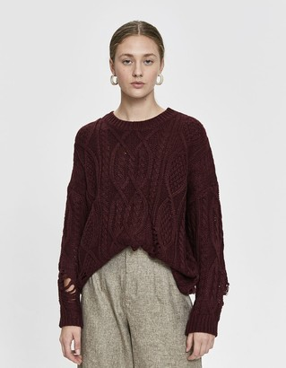 Ophelia Stelen Women's Cable Knit Sweater in Wine, Size Small