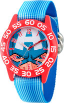 Marvel Boys Blue And Red Captain American Time Teacher Plastic Strap Watch W003256