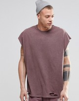 Asos Super Oversized Sleeveless T-Shirt With Distressing In Acid Wash Pink