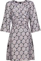 Suno Ruffled silk-blend jacquard and metallic brocade mini dress