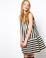 Asos Swing Dress In Stripe With Extreme Trumpet Hem
