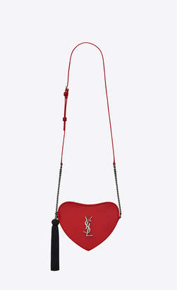 Saint Laurent Love Bag Monogram Mini Heart-shaped Bag In Smooth Leather Bandana Red Onesize