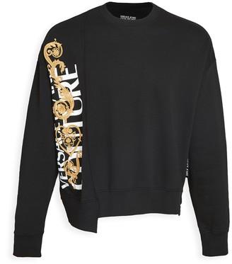 Versace Asymmetrical Logo Crew Neck Sweater
