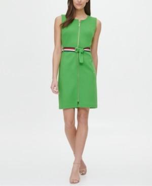 Tommy Hilfiger Pique Zip-Front Belted Dress