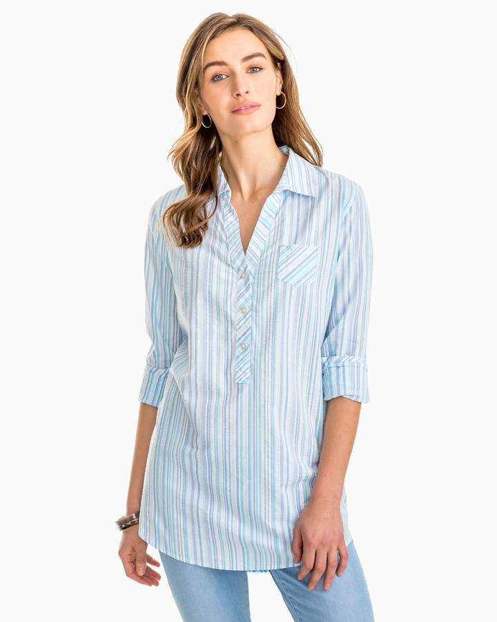 Southern Tide Kasey Multi Tonal Striped Seersucker Tunic