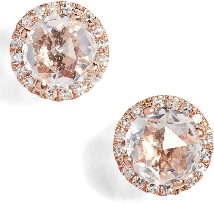 Ef Collection Diamond & Topaz Stud Earrings