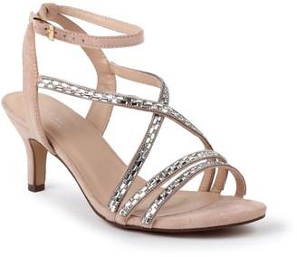 Paradox London Glitter 'Hermina' Wide Fit Mid Heel Sandal