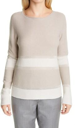 Fabiana Filippi Embellished Stripe Wool, Silk & Cashmere Boatneck Sweater