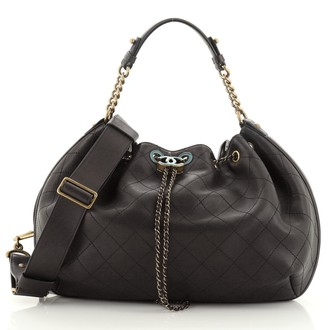 Chanel Paris in Rome Drawstring Bag Quilted Lambskin Large