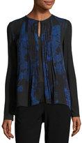 Elie Tahari Northstar Holly Long-Sleeve Printed Silk Blouse, Bluette