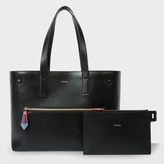 Paul Smith Women's Black Leather Tote With Removable Wallet And 'Artist Stripe' Lining