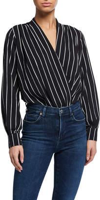 Astr Striped Crepe Surplice-Neck Bodysuit