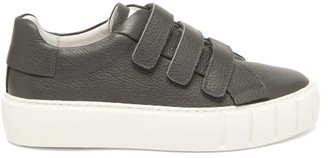 Primury - Scratch Velcro-strap Leather Trainers - Light Grey