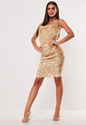 Missguided Nude Devore Ruched Cami Dress
