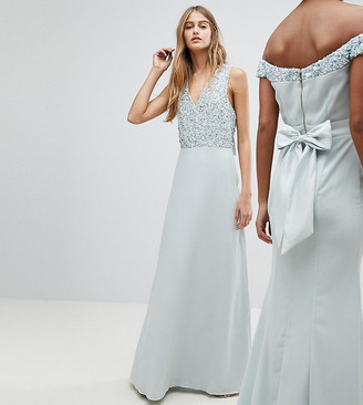 Maya Sleeveless Sequin Bodice Maxi Dress With Cutout And Bow Back Detail-Blue