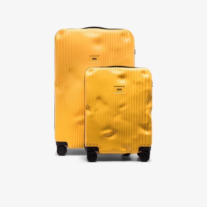 CRASH BAGGAGE Yellow Stripe Cabin Suitcase Set