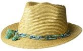 Cabana Life Hats Milan Straw Fedora with Beaded Tassel Trim (Tan) Caps