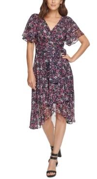 DKNY Double-Ruffle-Sleeve Dress