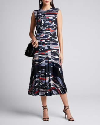 Cédric Charlier Wave-Print Pleated Crepe Dress