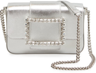 Roger Vivier Tres Vivier Micro Strass Metallic Leather Clutch Bag with Shoulder Strap
