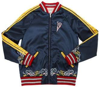 Gucci Dragon Embroidered Satin Bomber Jacket