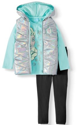 Frozen 2 Toddler Girls? Puffer Vest, Long Sleeve T-Shirt and Leggings, 3-Piece Set
