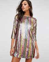 Boohoo Sequin Stripe Shift Dress