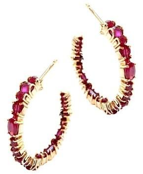 Sharon Khazzam Baby 18K Rose Gold Ruby Inside-Outside Hoop Earrings