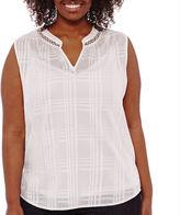 Liz Claiborne Sleeveless Band Collar Pleated Back Tunic - Plus