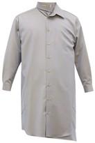 Bless Long-line Asymmetric Reflective-wool Overshirt - Mens - Blue Multi